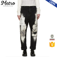 Cheap Wholesale Patched Damaged Baggy Jeans For Men