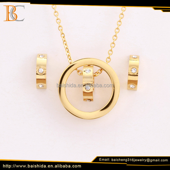 stainless steel jewelry set classic ring circle gold filled jewelry mens accessories