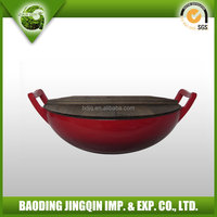 2016 hot chinese wholesale cast iron wok with wood lid