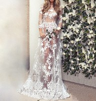 ZH1845A High quality elegant lace transparent long sleeve wedding dresses