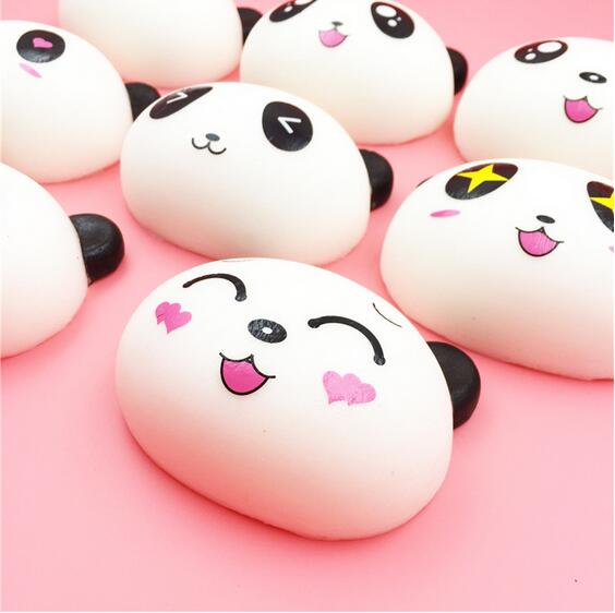 10cm girl expression bread squishy slow rising Pu simulation decompression toy Bag decoration Mobile pendant wholesale