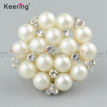 New arrival big pearls rhinestone button for lady's clothes WBK-1478