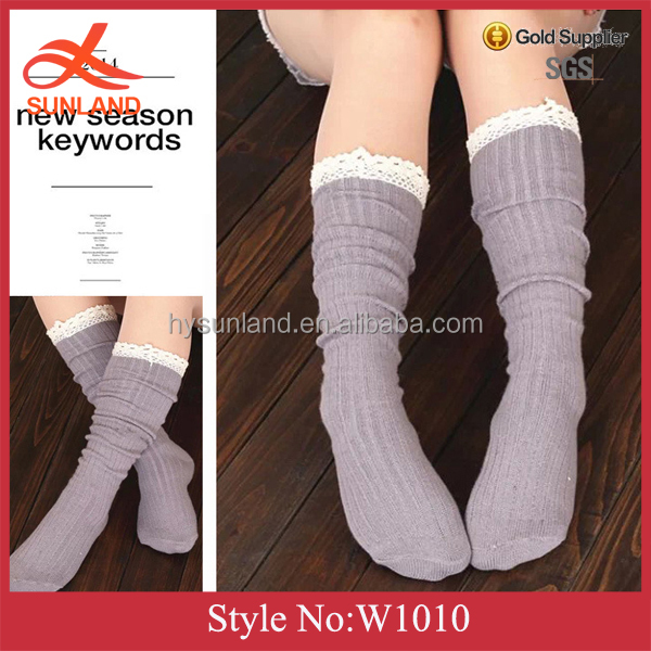 W1010 Fashion women boot cuffs dance leg warmers knitted leg warmers with lace trim