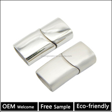 flat leather rhodium Plated stainless steel Magnetic Clasps Jewelry Findings BX1019