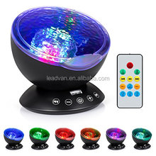 12 LED & 7 Colors Night Lighting Light Remote Control Music Ocean Wave Projector For Baby