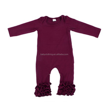 2017 latest solid plain color long sleeves plum icing ruffle baby clothes romper wholesale children clothing usa