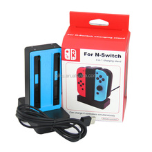 New Goods Blue Color 4 in 1 USB Charging Charger Dock Station Holder Stand For Nintendo Switch Joy-Con