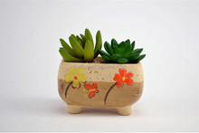 Home furnishing decoration ceramic planter/ Hand-Painted flower pot/ Artificial painted flowerpot .