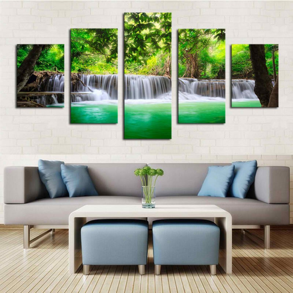 Decoration 5panel printed digital painting cheap custom giclee canvas art prints