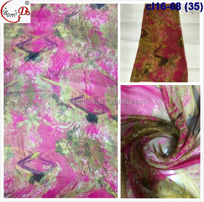 2017 Chowleedee cl16-68 (35) many color in stock print chiffon silk embroidery lace fabric raw silk fabric