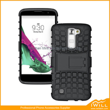 Rugged Hybrid Dual Layer Protective Kickstand Full Cover Case For LG K7 with Video Watching Stand