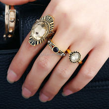 New Design Large Ethnic Style Antique Gold Plated Cooper Finger Ring For Women