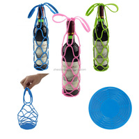 2017 Newest design Multi-fuctional Silicone Wine Bottle Carrier/Holder/basket,portable durable silicone wine bottle netting