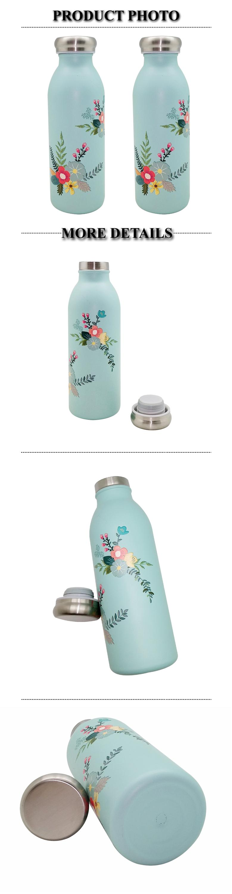 450ML Korea Style Milk shaped Insulated Double Wall Stainless steel Bottle with Digital printing