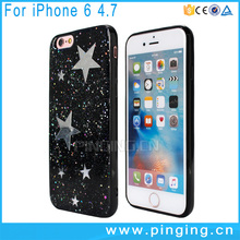 Shiny star silver foil printing epoxy resin cover for iphone 6 case tpu sublimation