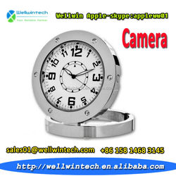 Stainless Round Clock Radio Hidden Camera Multi-function clock Motion Detection DVR520