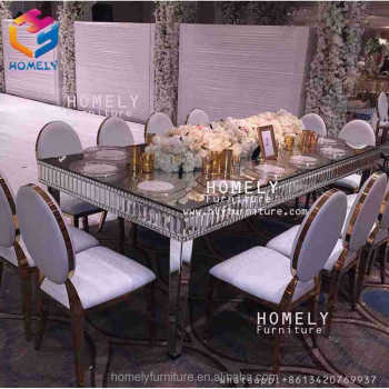 gold stainless steel frame event wedding dining party rectangle black tempered glass top crystal table for wedding