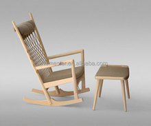 replica classic solid ash wood with fabric soft cushion Hans J. Wegner PP124 The Rocking Chair with ottoman