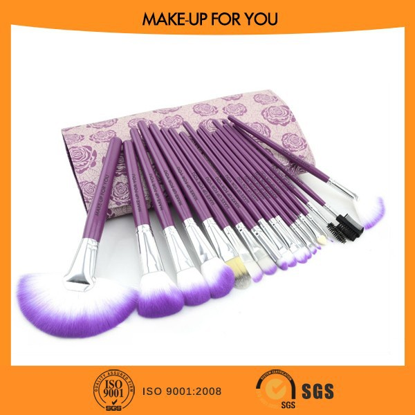 18pcs Best Seller Fast Delivery Synthetic Hair Professional Cosmetic Brush Set With Rose Flower Type Makeup Bag