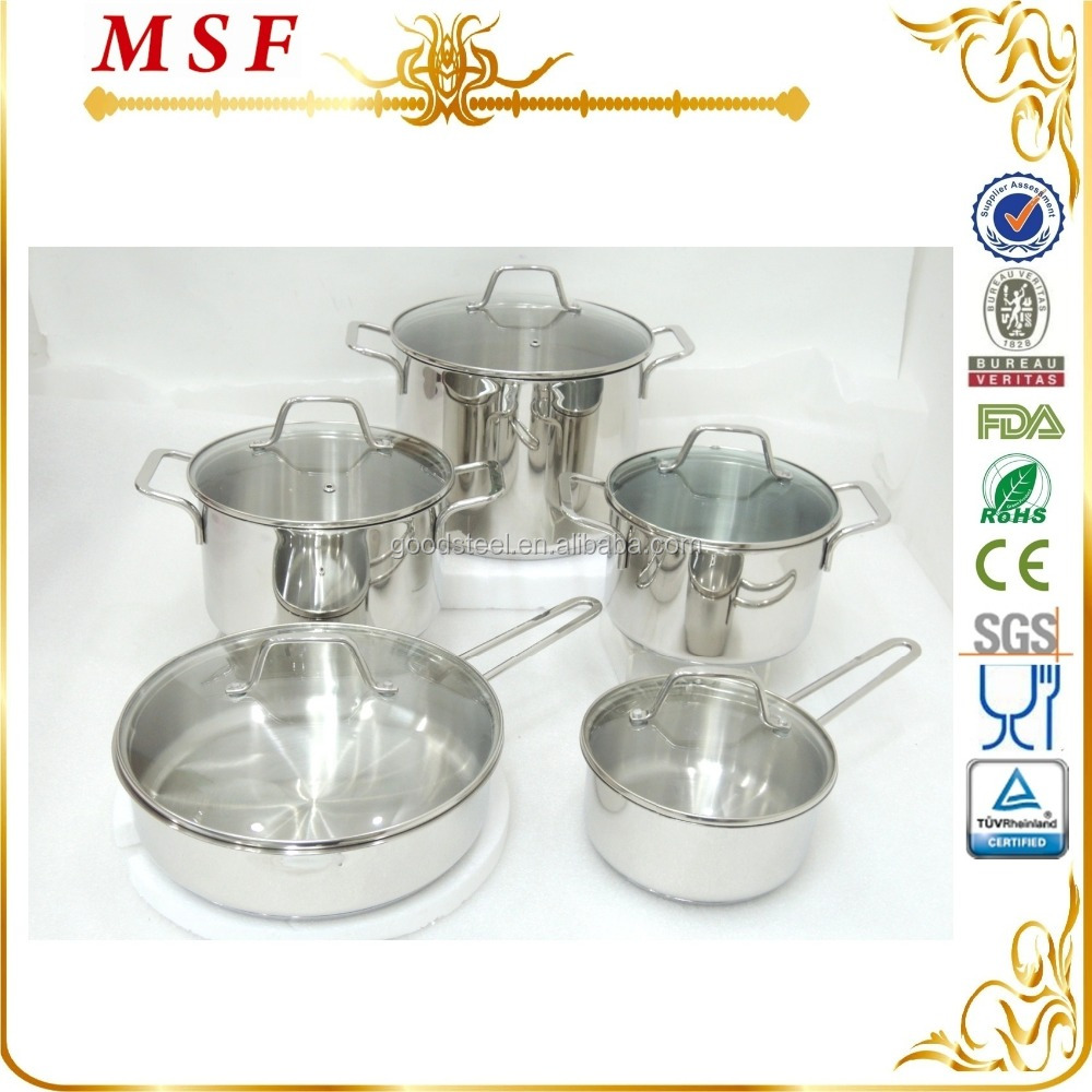 MSF Steel Pot Set 10pcs Stainless Steel Kitchenware 18/10 MSF-3849
