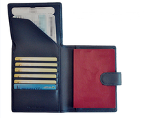 Leather travel document organizer Genuine leather checkbook cover