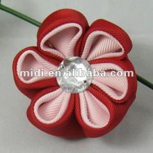 Clear polyester jeweled center fabric flowers for shoes