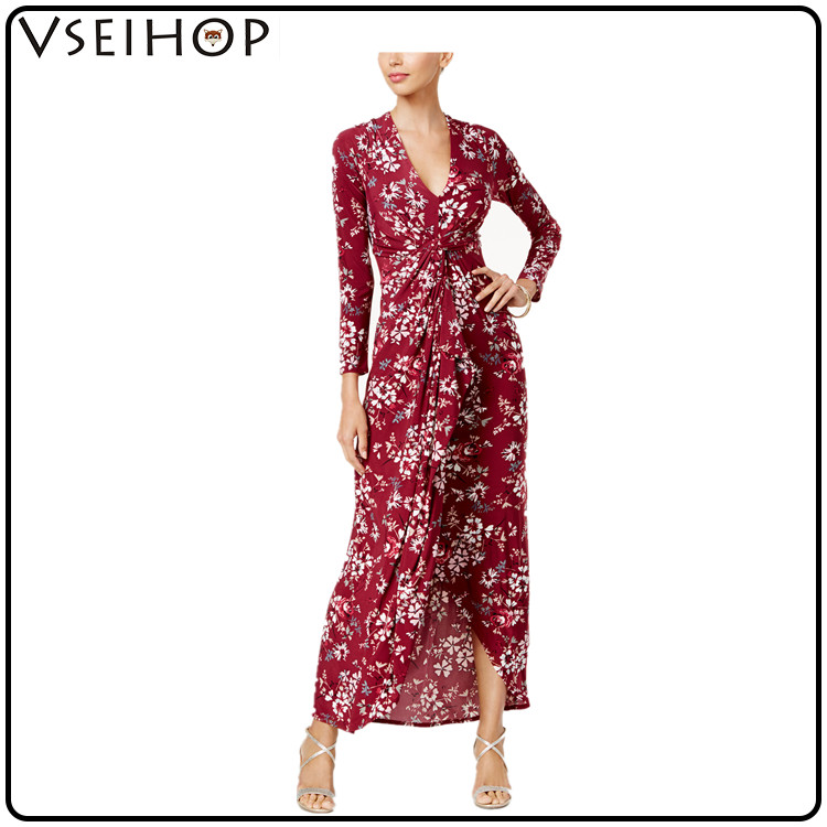 Chinese clothing manufacturers floral sexy long sleeve women dress without hot sale girls photos maxi dress