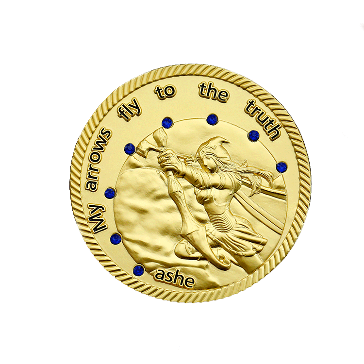 Personalized customization  custom 3D 999 Gold inlaid gem Ashe  challenge coin for my arrows fly to the truth