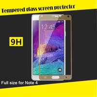 3D full cover colored tempered glass screen protector for samsung galaxy note 4 n9100