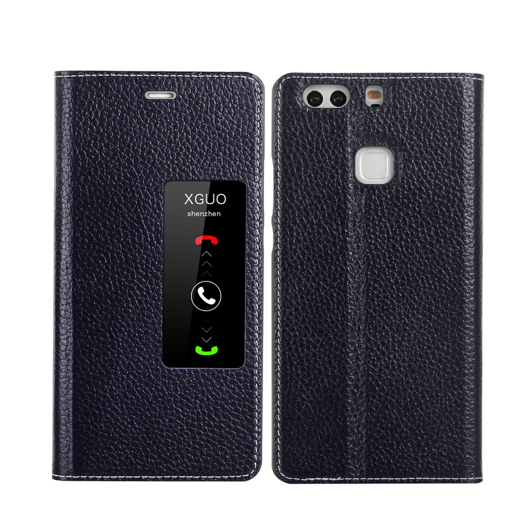 Huawei P9 flip cover leather phone case with stand and view window