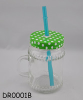Light green lid clear glass jar bulk juice mason jars