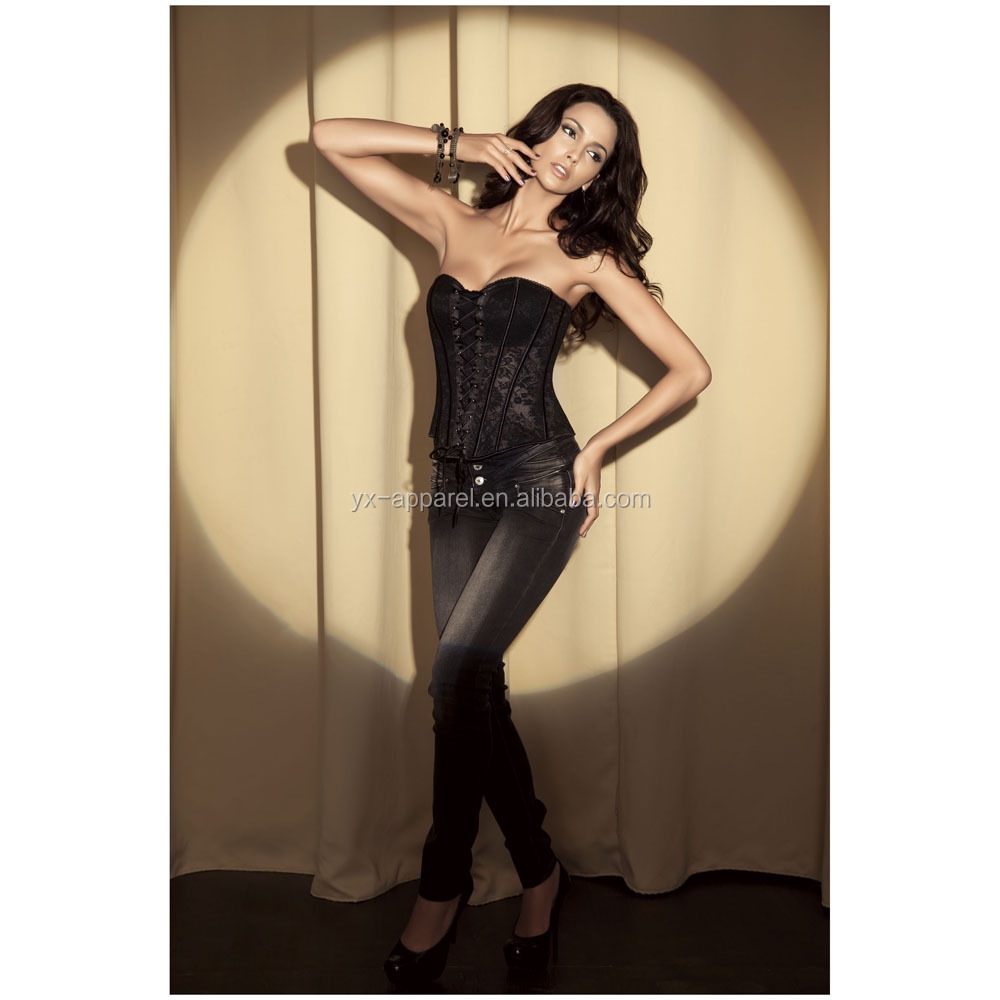 Plus Size XL XXL Women Sexy Corset Black Front Lace Up See Through Wedding Corset