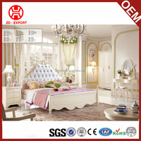 Cheap price European style queen size wooden latest double bed design for living room furniture