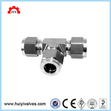 High quality stainless steel 304 6000psi twin ferrules 3 way pipe connector