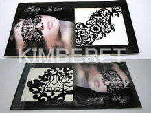 Reuseable self-adhesive black fashion luxury royal hollow cutout face lace for custome ball and party