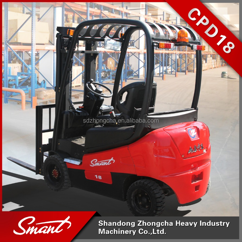 Zhongcha brand new 4-wheel small electric forklift lift truck with battery