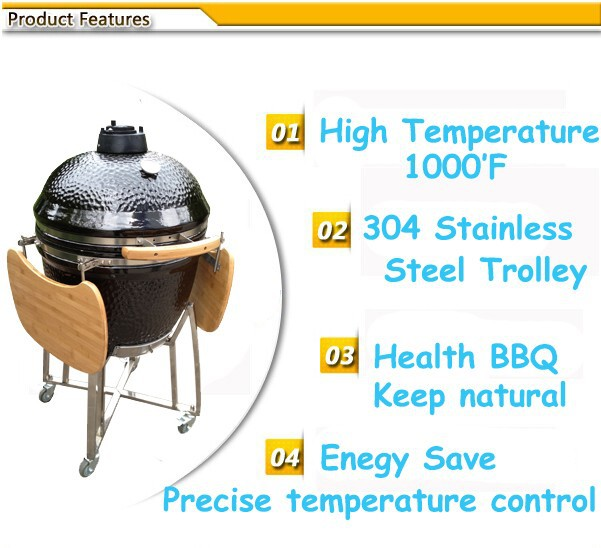Big Black Charcoal Cooking Stove Kamado Ceramic BBQ Clay Cooking Pot
