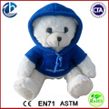 Wholesale Plush White Bears Wear Blue Hoody / Plush Stuffed Cute Bear With Sweater / Plush hoody Bear