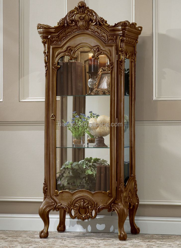European Wooden Living Room Curio Cabinet With Mirrored Back And Glass Shelves