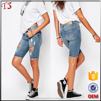 Skinny fit ripped ladies short jeans pants new fashion jeans half pants