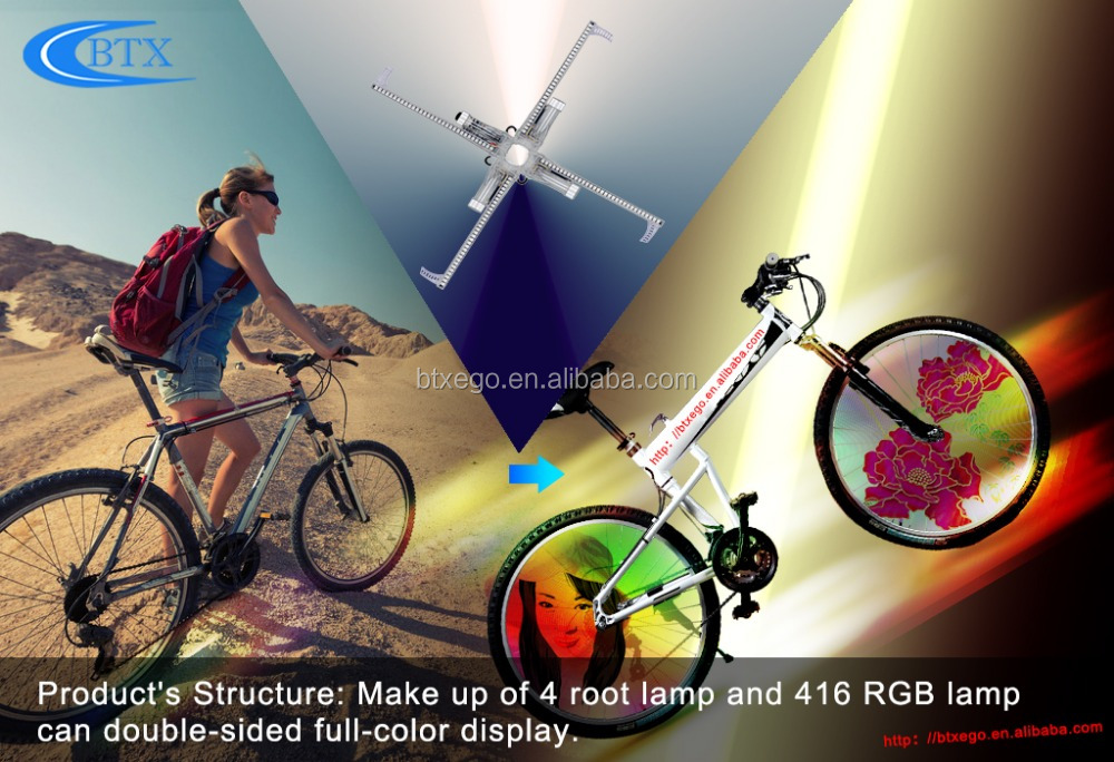Programming bicycle spoke wheel light, video display bike frame light with 18650 recharger battery