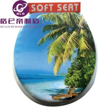 GLD Hot Sales Image Printed Color Elongated Adult Closed Front Soft Toilet / WC Seat Flowery Color Soft Toilet Seat