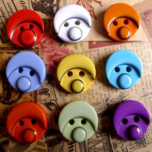 10 colors in stock moon face plastic resin 2 holes buttons for baby clothes design