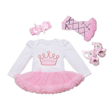 Newborn Infant Girls Tutu Dress + Shoes + Socks + Hair Band 4Pcs Outfits Clothes Sets Bodysuit