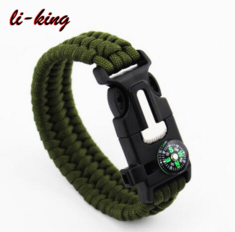 Emergency Survival Paracord Bracelet Outdoors Tactical First Aid Kit 5-in-1 Tool Paracord Bracelet
