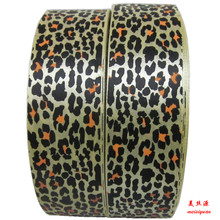 Leopard print fabric ribbons for ribbon bows, ribbon flowers,wash label print ink ribbon