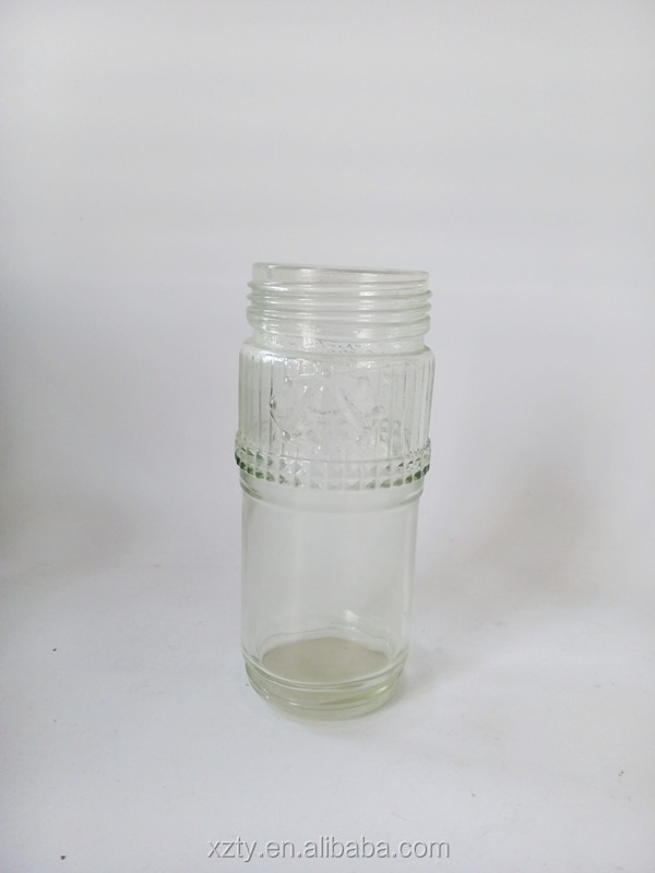 300ml round shaped transparent glass canned food empty jars with metal twist lid