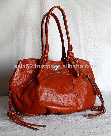 Genuine ostrich leather hand bag