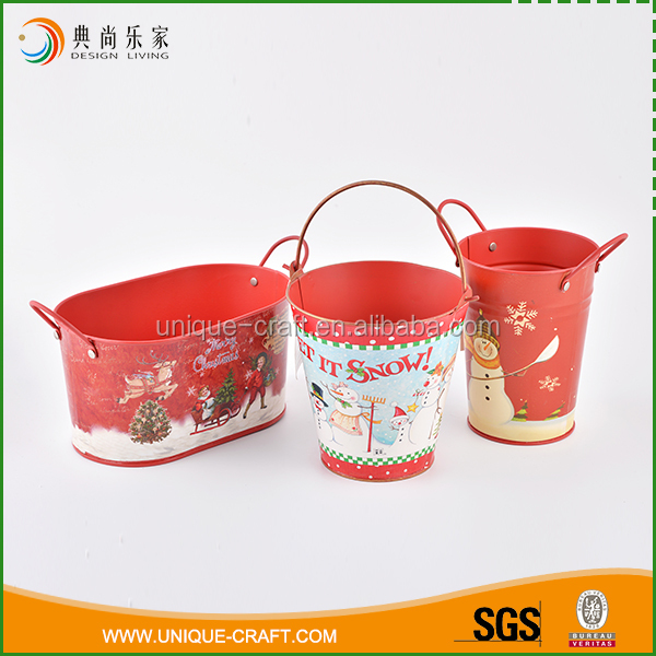 Lasted design wholesale garden cute red metal christmas decor flower pot