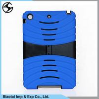 Heavy duty silicone+pc shockproof case cover for ipad mini 2 with kickstand